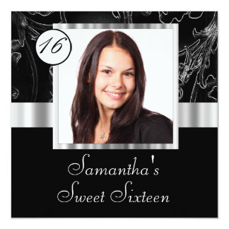 Black and silver sweet sixteen invitation