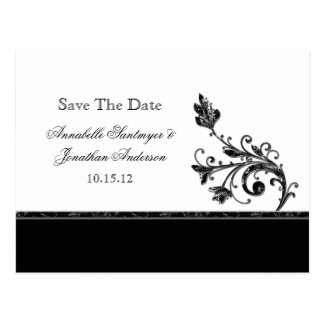 Black and Silver Swirls Save The Date Postcard