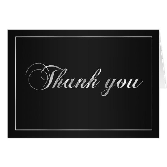 Black and Silver Thank You Note Card