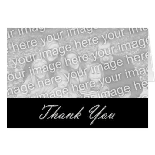 Black and silver Thank you Photo Template Greeting Card