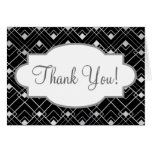 Black and Silver Vintage Art Deco Design Stationery Note Card