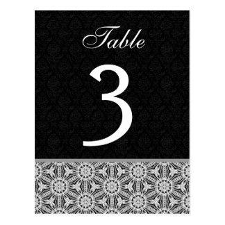 Black and Silver Vintage Lacework 2 Wedding Table Postcard