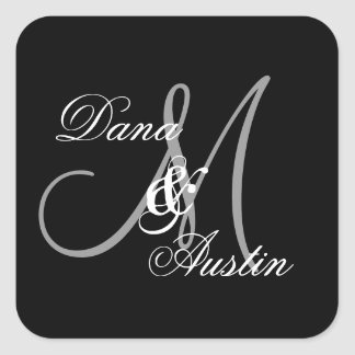 Black and Silver Wedding Custom Monogram A48 Square Sticker