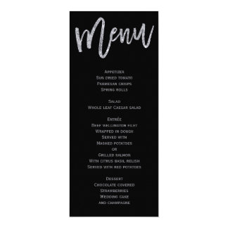Black And Silver Wedding Menu Personalized Card