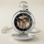 "Black and Silver Wedding Photo Pocket Watch<br><div class=""desc"">Stylish photo template wedding watch. Perfect gift to capture the moment. Template Image First Kiss by Alena Kratochvilova.http://www.publicdomainpictures.net/view-image.php?image=1128&amp;picture=first-kiss</div>"