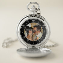 Black and Silver Wedding Photo Pocket Watch