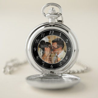 Black and Silver Wedding Photo Pocket Watch