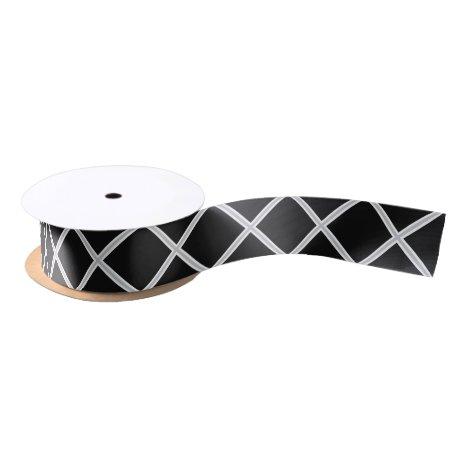 Black and Silver X's Satin Ribbon