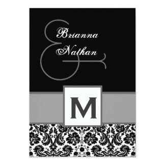 Black and Silvery Gray Monogram Damask Template