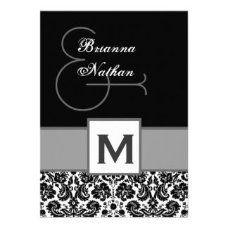 Black and Silvery Gray Monogram Damask Template Invites
