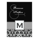 """Black and Silvery Gray Monogram Damask Template 5"""" X 7"""" Invitation Card"""