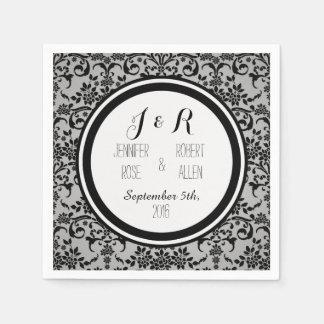 Black and Silvery Grey Damask Wedding Napkin Disposable Napkins
