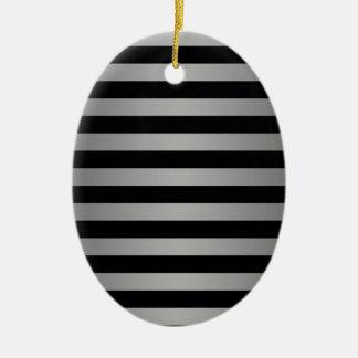 Black and Silvery Grey Stripes Pattern Ceramic Ornament