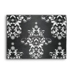 Black and Silvery White Floral Damask Envelope