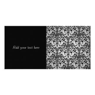 Black and Silvery White Floral Damask Pattern Card