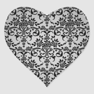 Black and Silvery White Floral Damask Pattern Heart Sticker