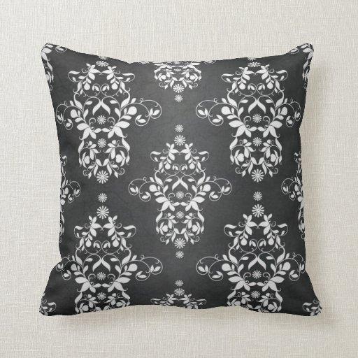 Damask Throw Pillows Black White : Black and Silvery White Floral Damask Throw Pillows Zazzle