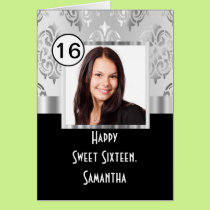 Black and siver damask sweet sixteen card