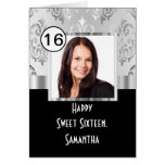 Black and siver damask sweet sixteen greeting card
