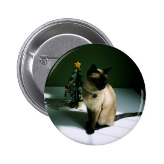 Black And Skin Cat Diesel At Xmas Pinback Buttons