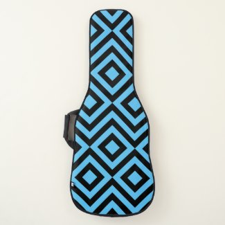 Black and Sky Blue Diamonds and Zigzags Guitar Case