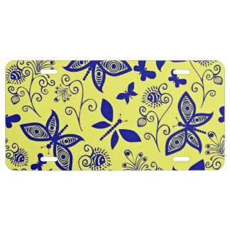 Black And Small Butterflies On A Gold Background License Plate