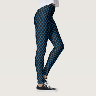 Beach Themed Black and Snorkel Blue Polka Dots Leggings