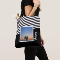 Black and Striped Pattern Personalized Photo Tote Bag