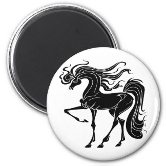Black and Stylized horse design 2 Inch Round Magnet