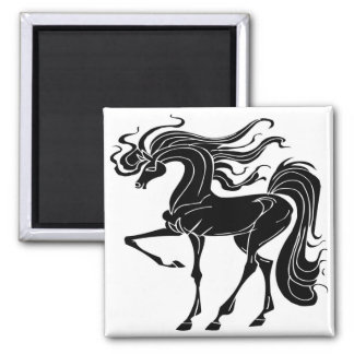 Black and Stylized horse design 2 Inch Square Magnet