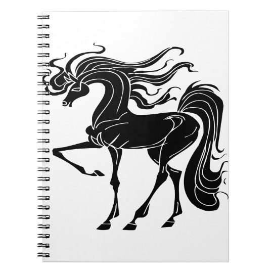 Black and Stylized horse design Notebook