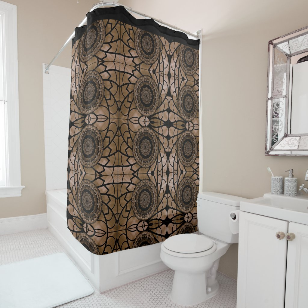 Black and Tan Abstract Floral Shower Curtain