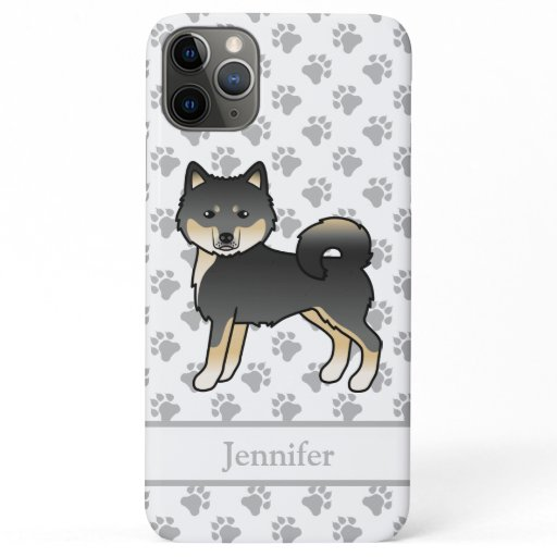 Black And Tan Alaskan Malamute Cartoon Dog & Name iPhone 11 Pro Max Case