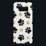 "Black and tan canine dog paw print white Case-Mate samsung galaxy s8 case<br><div class=""desc"">Black and tan luxury decoration canine dog paw print on a white background</div>"