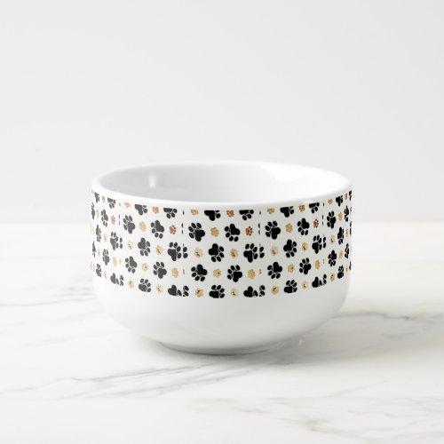 Black and tan canine dog paw print white soup mug