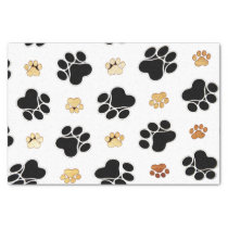 Black and tan canine dog paw print white tissue paper