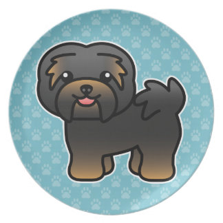 Black And Tan Cartoon Havanese Party Plate