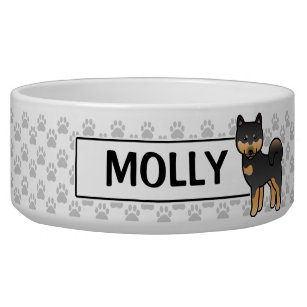 Black And Tan Cartoon Shiba Inu Bowl