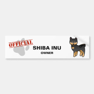 Black And Tan Cartoon Shiba Inu Bumper Sticker