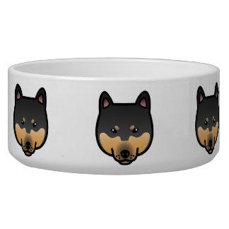 Black And Tan Cartoon Shiba Inu Head Pet Bowls