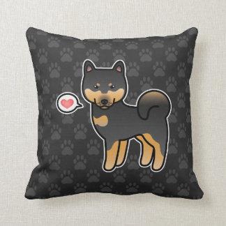 Black And Tan Cartoon Shiba Inu Love Throw Pillow