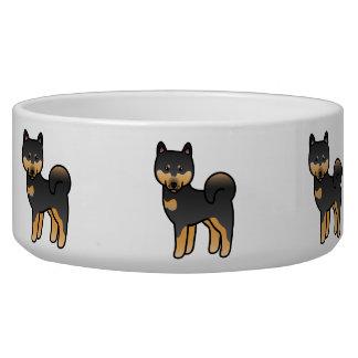 Black And Tan Cartoon Shiba Inu Pet Water Bowl