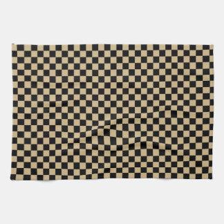Black and Tan Checkered Hand Towel