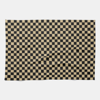Black and Tan Checkered Hand Towels