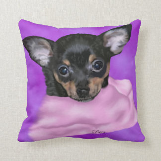 Black and Tan Chihuahua Puppy Throw Pillow