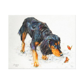 Black and tan Cocker Spaniel with Butterflies Canvas Print