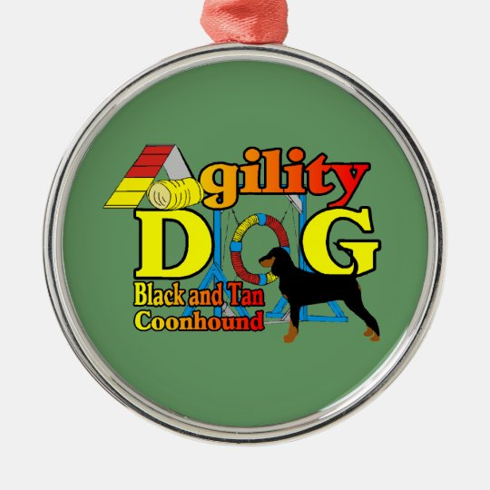Black and Tan Coonhound Agility Metal Ornament