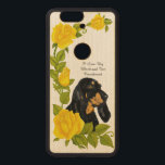"""Black and Tan Coonhound and Yellow Roses Wood Nexus 6P Case<br><div class=""""desc"""">Black and Tan Coonhound related custom Carved &#174; Google Nexus 6p Bumper Wood Case using yellow roses unique original paintings, drawings added to original graphic designs. TO CUSTOMIZE &amp; CHANGE DESIGN * CHANGE TYPE OR COLOR SCHEME * ADD YOUR FAVORITE IMAGE * ADD, CHANGE TEXT OR DELETE TO LEAVE IT...</div>"""
