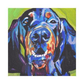 black and tan coonhound bright pop art canvas print