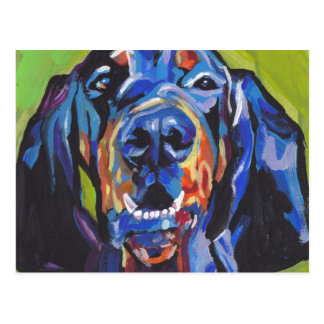 black and tan coonhound bright pop art postcard